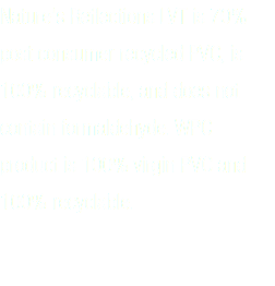 Nature's Reflections LVT is 70% post consumer recycled PVC, is 100% recyclable, and does not contain formaldehyde. WPC product is 100% virgin PVC and 100% recyclable.